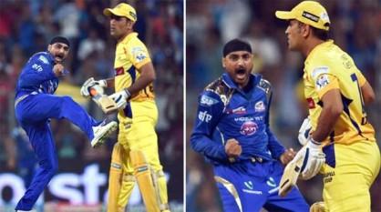 सलामी बल्लेबाज लेंडल सिमंस के अर्धशतक के बाद गेंदबाजों के उम्दा प्रदर्शन से मुंबई इंडियंस ने इंडियन प्रीमियर लीग के पहले क्वालीफायर में आज यहां चेन्नई सुपरकिंग्स को 25 रन से हराकर तीसरी बार फाइनल में जगह बनाई। मुंबई ने सिमंस (65) और कीरोन पोलार्ड (41) की आकर्षक पारियों की मदद से छह विकेट पर 187 रन बनाए और फिर लेसिथ मलिंगा (23 रन पर तीन विकेट) और हरभजन सिंह (26 रन पर दो विकेट) की धारदार गेंदबाजी से चेन्नई सुपरकिंग्स को 19 ओवर में 162 रन पर समेट दिया। (फोटो: भाषा)