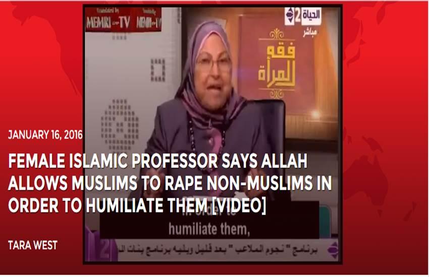 female professor, Professor Suad Saleh, LiveLeak, suad saleh al saleh, Non muslim Woman, Rape, Allah allows, Al Azhar University, Rape, गैर मुस्लिम महिलाएं, रेप, इस्लाम, मिस्र प्रोफेसर, महिला प्रोफेसर, रेप इजाजत, latest world news, hindi news