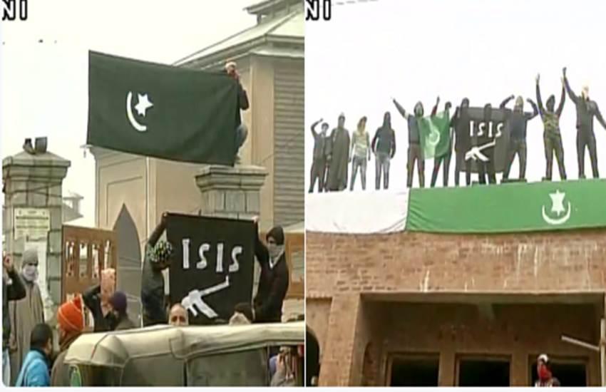 Jitendra Singh, Pak flag, ISIS flag, Jamia Masjid, J&K news, hafiz saeed, Stone pelters, security forces, armry, जम्मू कश्मीर, पत्थरबाजी, विरोध प्रदर्शन, जामिया मस्जिद, पाकिस्तानी फ्लैग, ISIS झंडे, भारतीय सेना