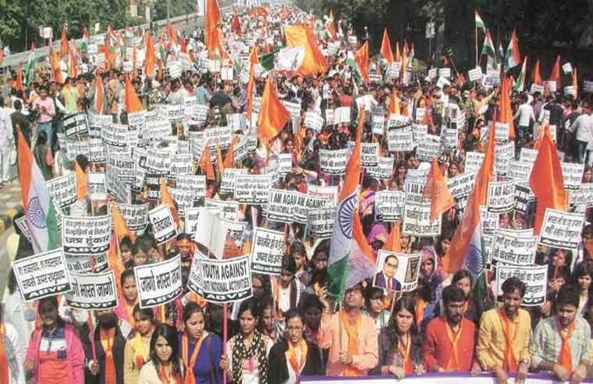 DUSU president, satender awana, delhi university students union, ABVP march, JNU, JNU protests, JNU row, JNUSU, JNU abvp, ABVP jnu, umar khalid, JNU news, bjp abvp, दिल्ली यूनिवर्सिटी छात्र संघ, सतेंदर अवाना, एबीवीपी मार्च