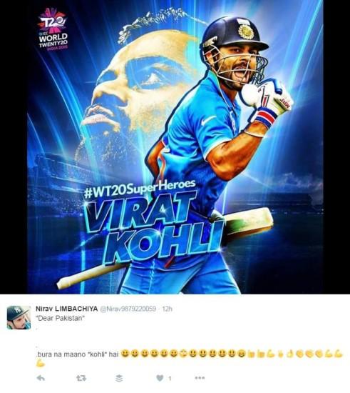 भारतीय जीत के नायक विराट कोहली ने इस साल टी20 अंतरराष्ट्रीय में 107.50 की औसत से 430 रन बना लिये हैं। टी20 में उनका करियर औसत 53.55 है जो किसी भी बल्लेबाज का सर्वाधिक औसत है।