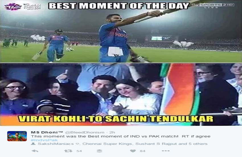 विराट कोहली ने मैच के दौरान फिफ्टी पूरी करने के बाद सचिन तेंदुलकर के सामने जब सिर झुकाया तो पूरा देश भावुक हो गया। यह तस्वीर सोशल मीडिया पर खूब वायरल हो रही है।