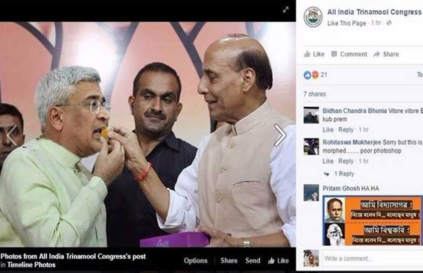 TMC, trinamool congress, fake photo, tmc fake photo, rajnath fake photo, congress, bjp, cpm, west bengal, polls, west bengal elections, bengal poll, begal assembly election