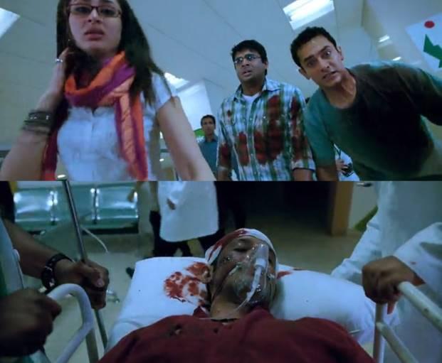 और फिल्म 3 ईडियट्स का ये सीन जब राजू प्रिंसिपल के सवाल के जवाब से बचने के लिए छत से कूद पड़ता है।