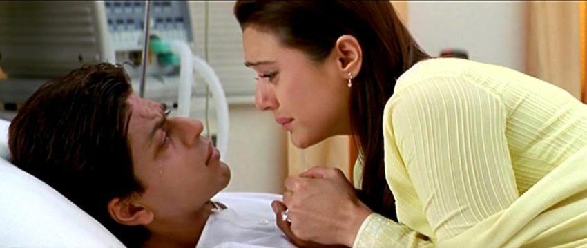 कल हो ना हो का ये सीन जब शाहरुख हॉस्पिटल में होता है और शादी के बाद प्रीति उससे मिलने वहां पहुंचती हैं।