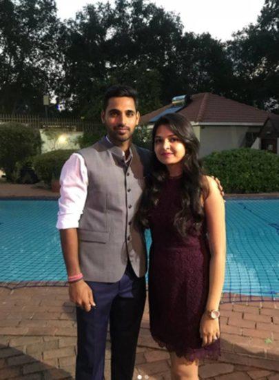 Bhuvneshwar Kumar with wife