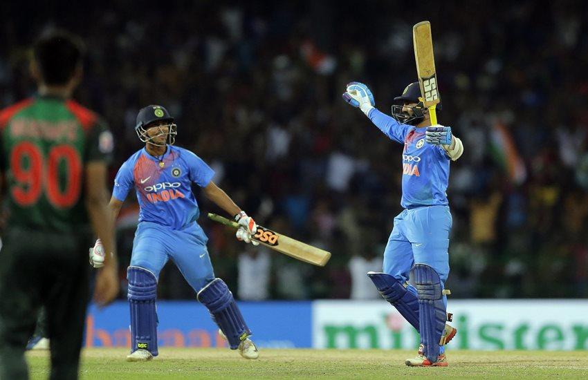 india vs bangladesh, ind vs ban, india vs bangladesh t20, india vs bangladesh t20 squad, nidahas trophy, nidahas trophy 2018, india vs bangladesh t20 players list, Nidahas Trophy, Nidahas Trophy Final,ind vs ban t20, cricket score, Dinesh kartik, Dinesh kartik six, Dinesh kartik sixer, Dinesh kartik won the match, Dinesh kartik last ball DK, India won the match, India won Nidahas Trophy, cricket news, hindi news, Jansatta