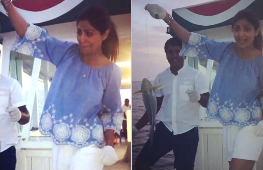 Shilpa Shetty, Maldives, Viral video, shilpa shetty catch fish, Shilpa Shetty Troll, Shilpa Shetty instagram, Raj Kundra, shilpa shetty maldives vacation, jansatta