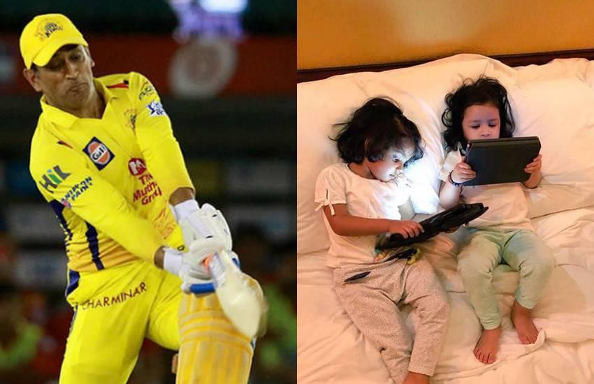 धोनी ने खेली धुआंधारी पारी, बेटी जीवा ने अपनी बेस्टफ्रेंड ग्रेसिया संग टेबलेट पर देखा मैच-PHOTOS
