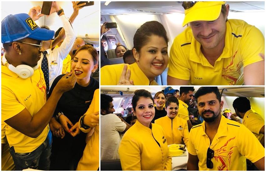 सामने आई तस्वीरें: आईपीएल जीतने पर फ्लाइट में एयर होस्टेस संग सीएसके प्लेयर्स ने किया था सेलिब्रेट