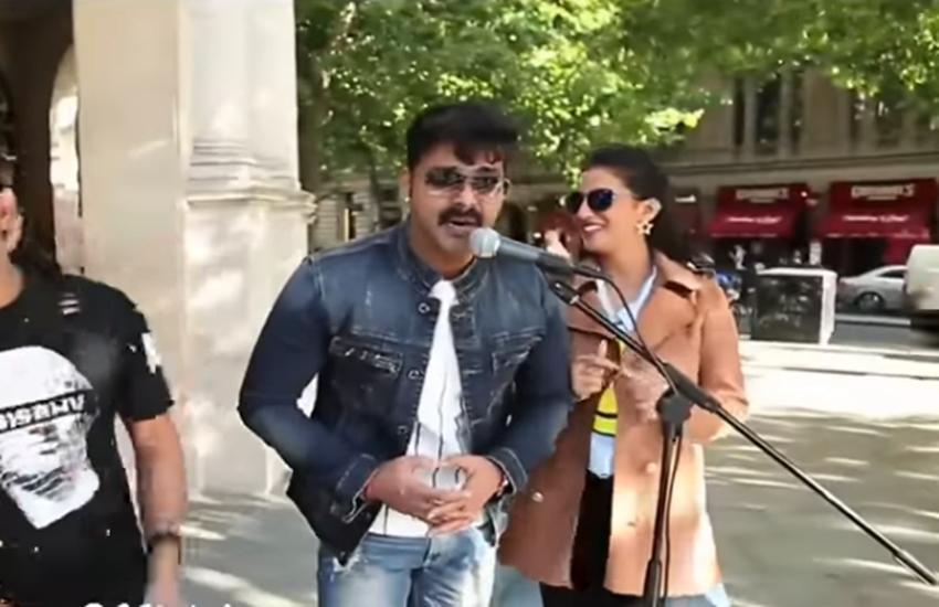 bhojpuri singer PAWAN SINGH, bhojpuri actor pawan singh, pawan singh in london, pawan singh singing lagawelu tu jab lipistick, people come and join pawan singh with joy, watch video of pawan singh, television news,entertainment news, bollywood news, television news ,entertainment news, bollywood news, television news