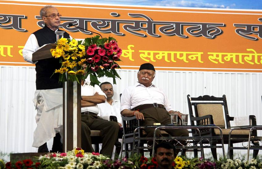 Pranab Mukherjee at RSS event to mark the conclusion of a three-year training camp
