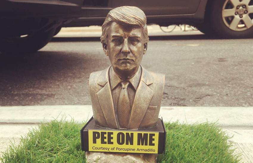 tiny Donald Trump pee on me Statues, donald trump statues, New York new Donald trump statues, viral statues, Pee On Me, indian express,