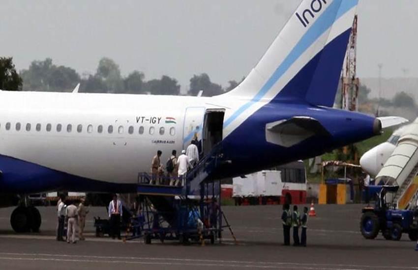 indigo airline plane, chandigarh airport, flight fuel