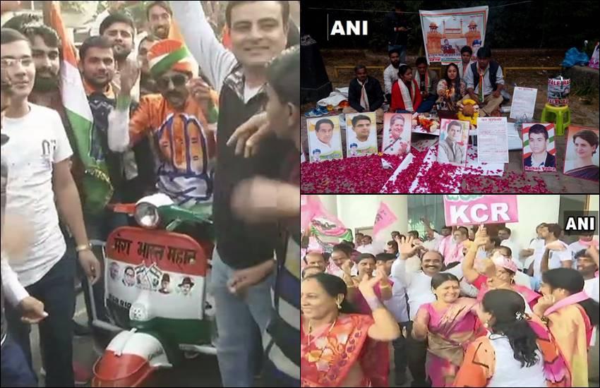 Assembly Election Result 2018: राजस्थान में कांग्रेस और तेलंगाना में TRS के कार्यकर्ता मना रहेजश्न