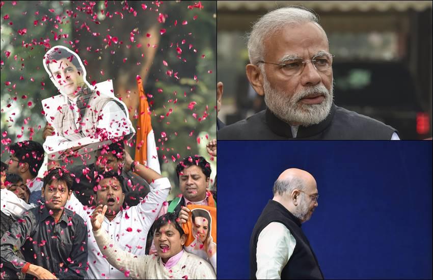 चुनाव रुझानों का असर: कांग्रेसी गदगद तो भाजपाई मायूस, देखें आज की तस्वीरें