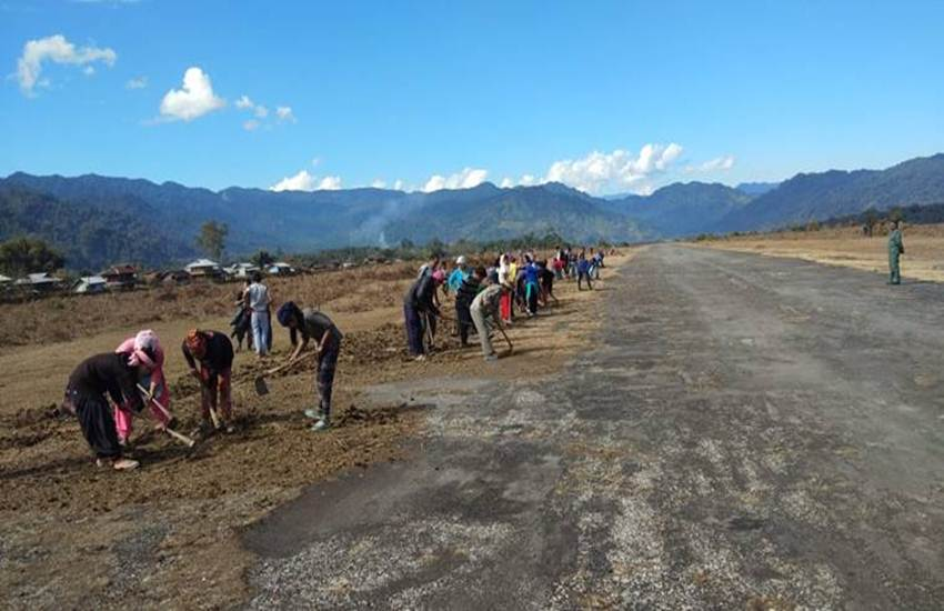 Arunachal Pradesh, Villagers, Indian Air Force, IAF, Airstrip, Operational, Vijayanagar Advanced Landing Ground, ALG, Arunachal Pradesh village, Arunachal villagers volunteer work, Indian air force, IAF airstrip Vijayanagar, Vijayanagar aif airstrip, Arunachal village shramdaan, State News, Hindi News