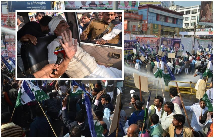 Bihar news, Patna News, RLSP, Upendra kushwaha, Nitish Kumar, Bihar Police, Jan Aakrosh rally, रालोसपा, नीतीश कुमार, उपेंद्र कुशवाहा, राजभवन मार्च, लाठीचार्ज