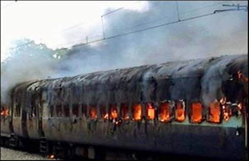 fire accident in train