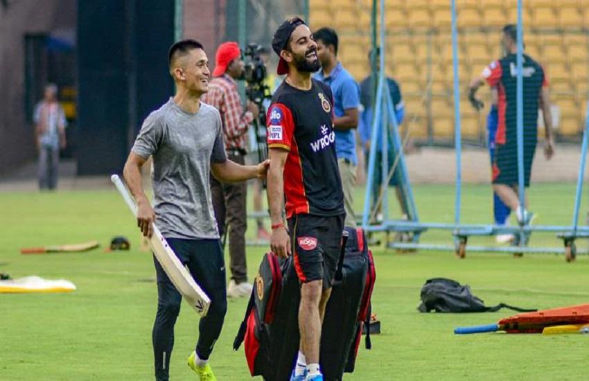 IPL 2019, Sunil Chhetri, Virat Kohli, RCB, training session, Royal Challengers Bangalore, Bengaluru FC,