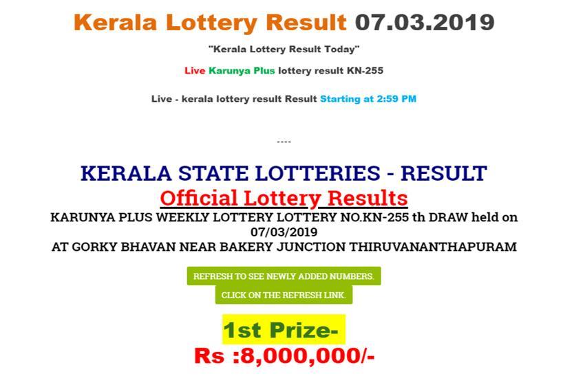 Kerala Karunya Plus Lottery Today Results Chart 2018