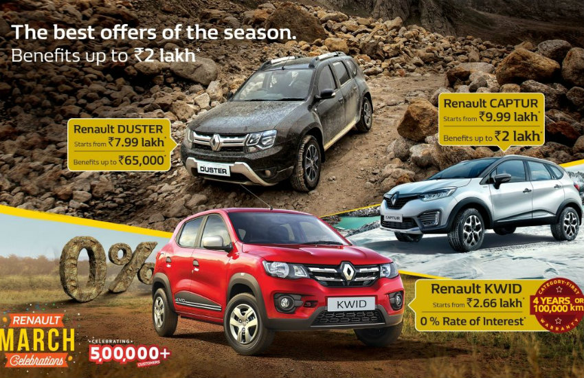 Renault March Discounts, renault cars discount, car offers in march, renault kwid discount, renault duster discount offer, holi offers on cars, renault lodgy discount offer