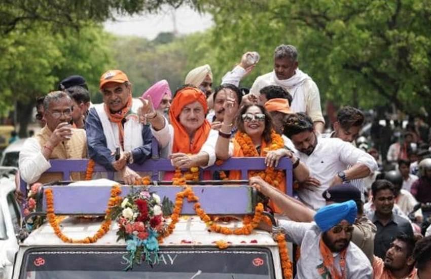 Loksaba Elections 2019, Elections 2019, Anupam Kher, Bollywood Actor, Chant, Bharat Mata ki Jai, TV Reporter, Question, Kiran Kher, Wife, BJP Candidate, Chandigarh, Video, India News, National News, Hindi News