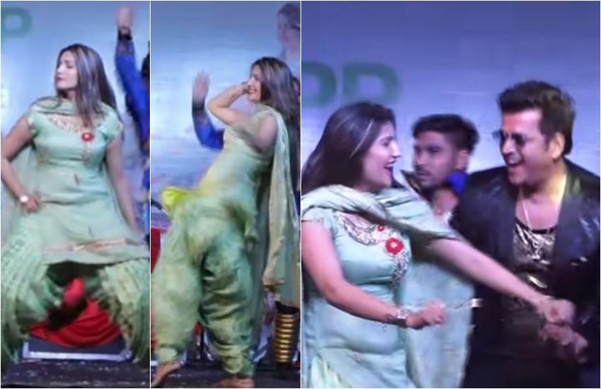 Sapna Choudhary, sapna choudhary dancing with bhojpuri superstar, sapna choudhary and ravi kishan, ravi kishan with sapna choudhary, Bhojpuri Superstar Ravi Kishan, Ravi Kishan dancing with sapna, sapna and ravi kishan together, sapna choudhary dancing in Haryanvi songm, fans says to sapna choudhary superhit dancer, entertainment news, bollywood news, television news, entertainment news