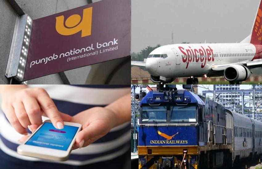 bank, mobile, railways, spicejet