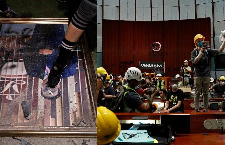 Hong Kong Parliament Protest, Hong Kong Parliament, Parliament Protest, Protesters, Seiz, Parliament, Parliament Chamber, Spray, Walls, Graffiti, Police, Fire, Tear Gas, Hong Kong, International News, Hindi News
