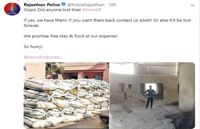 Rajasthan Police, smack, tweet, troll, social media, Assam police, Mumbai police, Banglore police, ganja, cm gahlot, congress