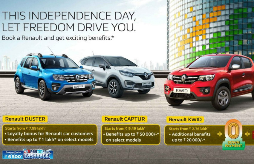 Renault Independence Day offers, Renault Kwid zero down payment, Renault Kwid discount offer, renault duster discount offer, renault capture discount offer