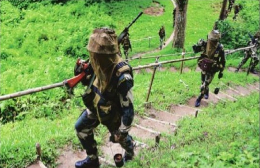 BSF soldier while patrolling